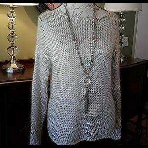 Vince silver metallic open knit sweater